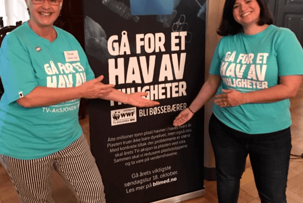 Asplan Viak støtter årets TV-aksjon og oppfordrer deg til å gjøre det samme!  Bente Haukland Næss (til venstre), leder for Miljø og samfunnsansvar i Asplan Viak og  Karoline Andaur, Generalsekretær i WWF Norge. Foto: Marie Knive