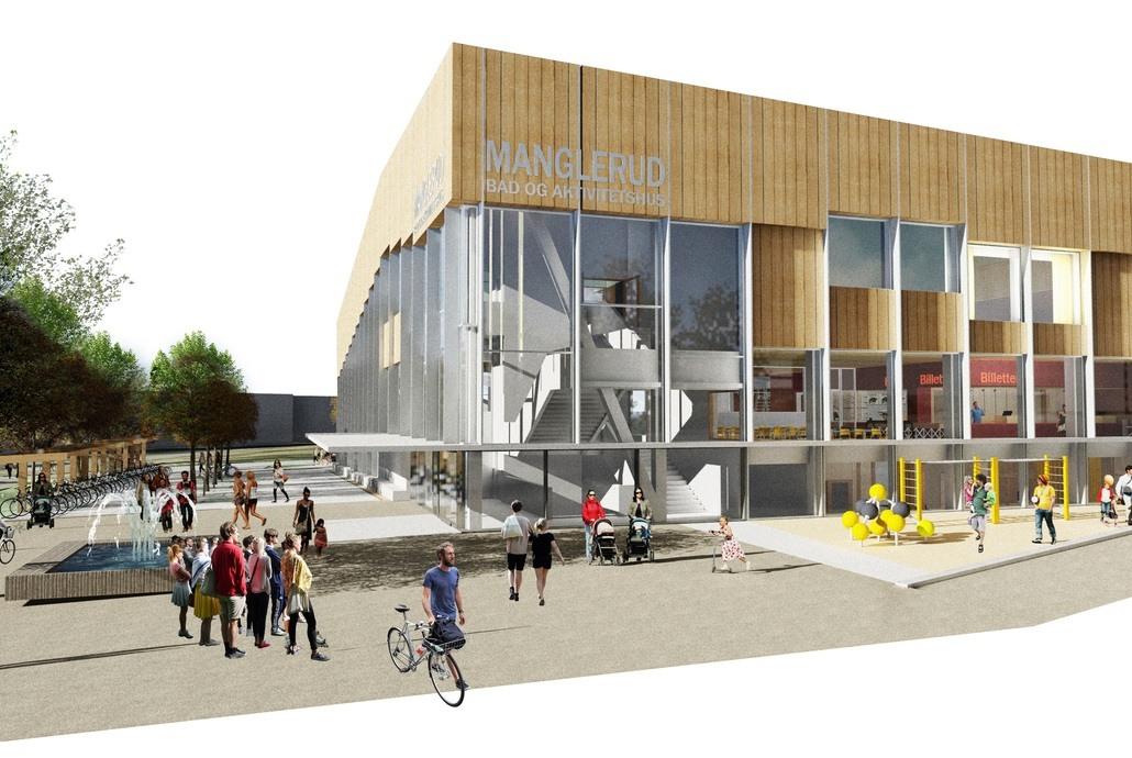 Manglerud bad og aktivitetshus blir en samlokalisering av et nytt folkebad, Oslo kulturskole og Manglerud ungdomshus. Illustrasjon: Asplan Viak