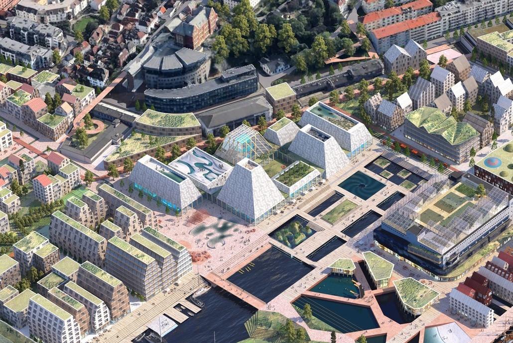 Akvariet er tenkt som hjertet i den nye bydelen Dokken. Illustrasjon: Asplan Viak og Mad arkitekter