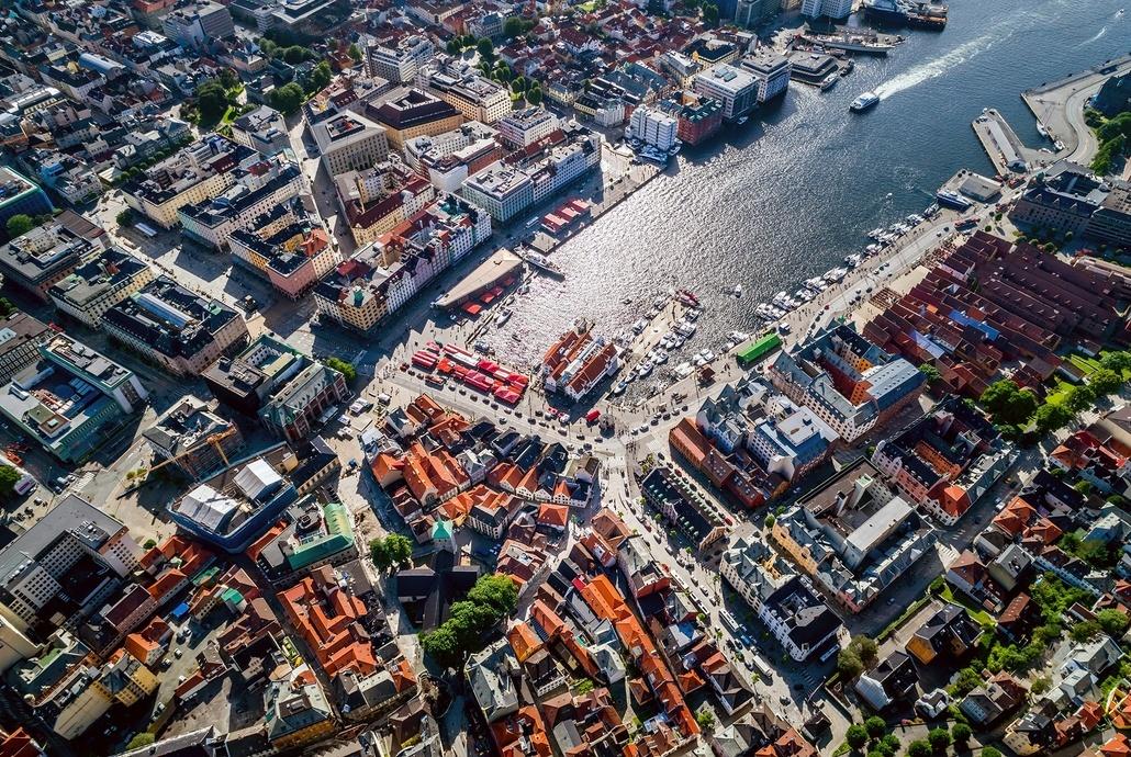 Byrommene – Torget – Vetrlidsallmenningen -  Finnegårdsgaten - Bryggen skal utformes.  Foto: Shutterstock