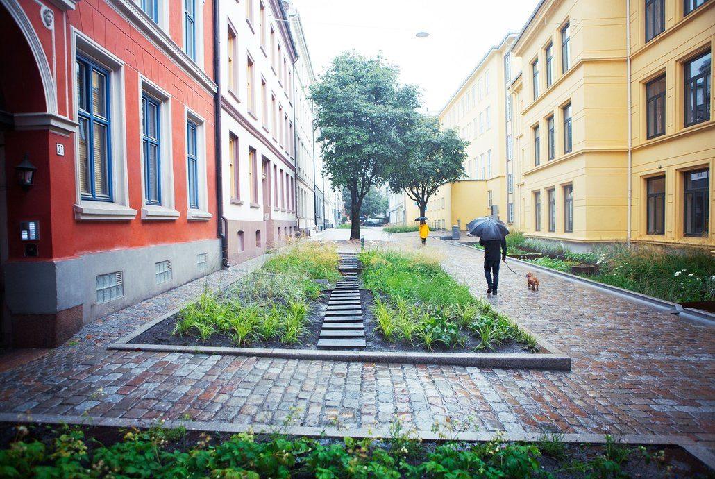 Et pilotprosjekt for klimatilpasset overvannshåndtering hvor grå- og blågrønn infrastruktur bidrar til å skape en attraktiv oase for bybarna og øvrige beboerne sentralt i Oslo sentrum. Foto: Åse Holte