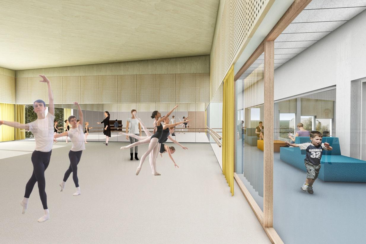 Manglerud ungdomshus tilbyr fritidsaktiviteter, kulturarrangementer og kurs i alt fra dans til studioteknikk. Her fra dansesalen. Illustrasjon: Asplan Viak.