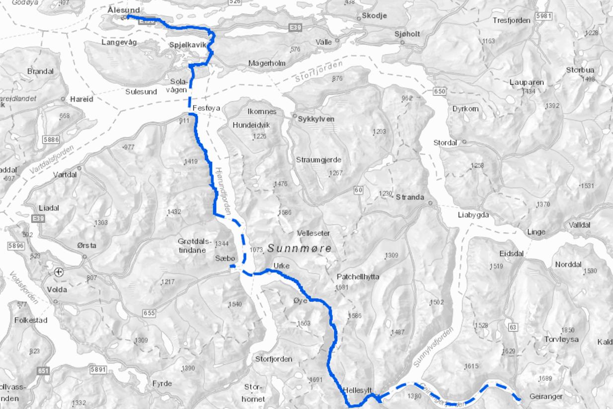 Ruten Ålesund-Geiranger slik den vises i kartløsningen fra Asplan Viak. Illustrasjon: Asplan Viak