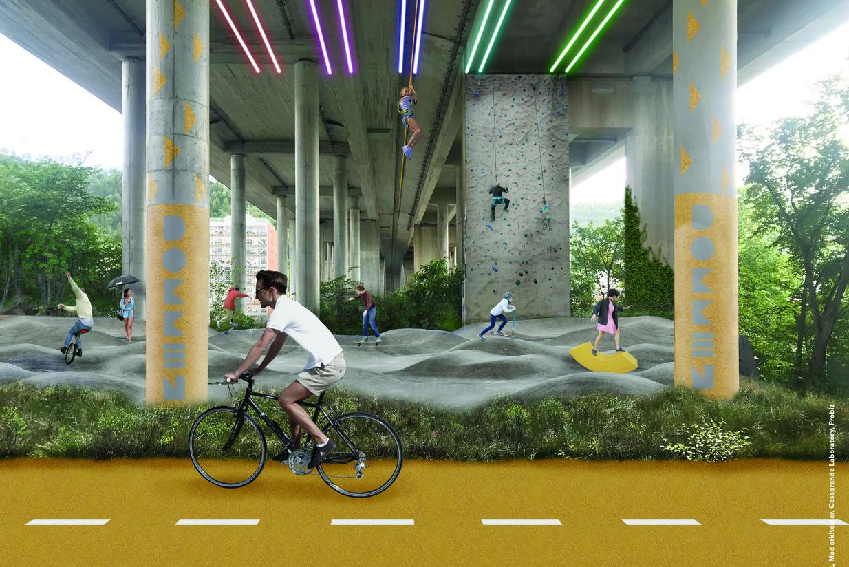 Rekreasjonsområde og sykkelstier under Puddefjordsbroen. Illustrasjon: Asplan Viak og Mad arkitekter