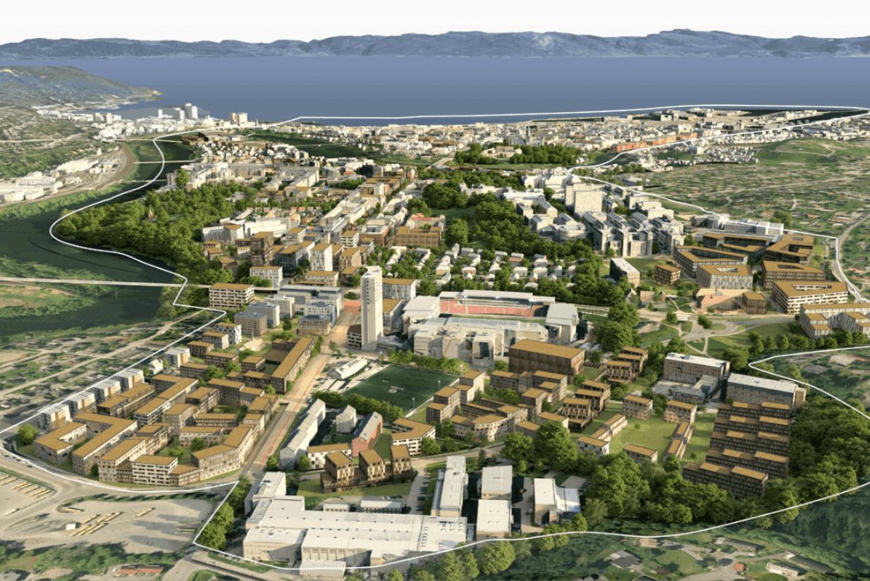 Til tross for bevaringsfokuset har forslaget fra Asplan Viak funnet plass til mange nye kvadratmeter i Midtbyen og bydel sør. Illustrasjon: Asplan Viak