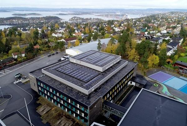 Dronefoto Nordseter skole. Trygve Mongstad/Asplan Viak