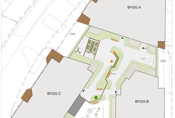 Bygg A, B og C. Illustrasjon: Asplan Viak
