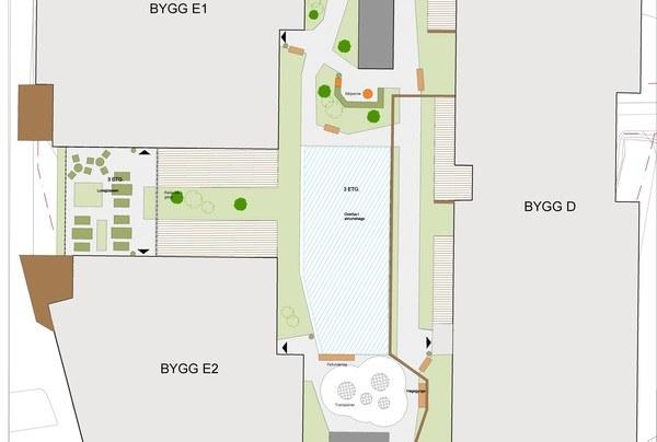 Bygg E1, E2 og D. Illustrasjon: Asplan Viak