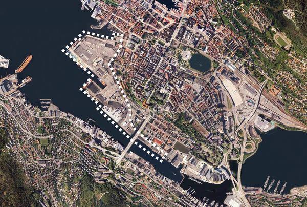 Avgrensingen av Bergen Havn som inkluderer Dokkeskjærskaien, Jekteviksterminalen Frieleneskaien, Møhlenpriskai og Hurtigrutekaien. Illustrasjon: Asplan Viak