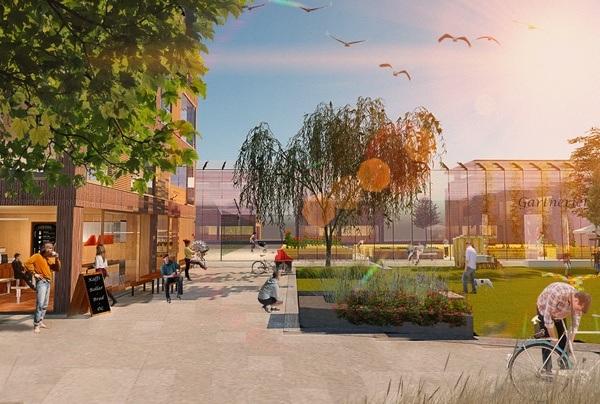 Illustrasjon av nye «Gartnerplassen» på Nore Neset.
