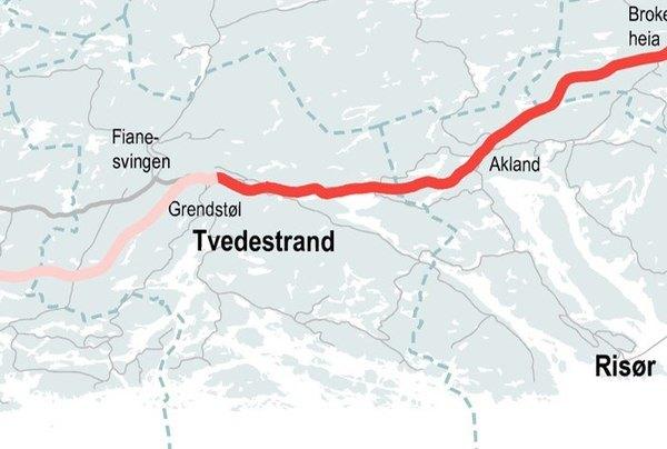 Oversikt over planlagt vegstrekning. Dørdal - Grimstad uthevet i rødt. Illustrasjon: Nye Veier