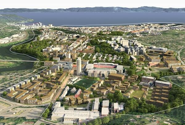 Byen sett sørfra. Illustrasjon: Asplan Viak