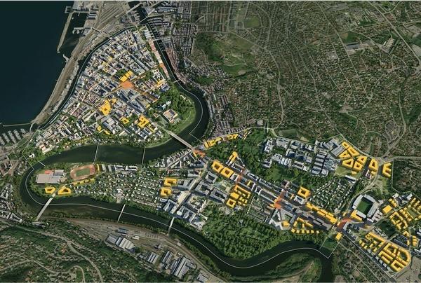 Hele byen med omriss - dag.  Illustrasjon: Asplan Viak