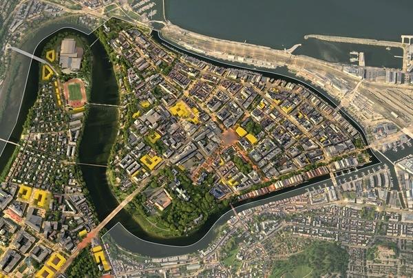 Midtbyen med omriss. Illustrasjon: Asplan Viak