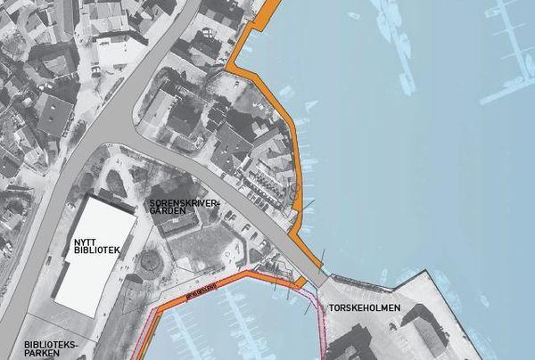 Bryggesleng - sammenhengende promenade. Illustrasjon: Asplan Viak