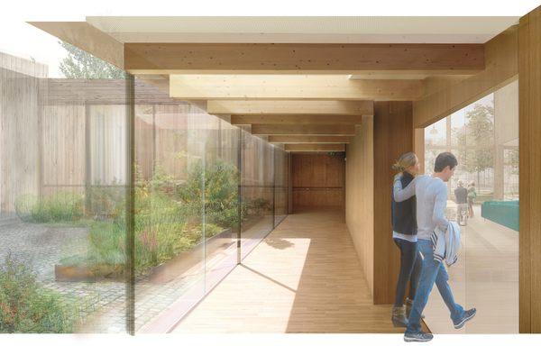 Korridor- og gangarealene har gode romlige kvaliteter og skal være hyggelige å vandre rundt i. Godt med dagslys, vakkert utsyn og muligheter for å sette seg ned. Illustrasjon: Asplan Viak