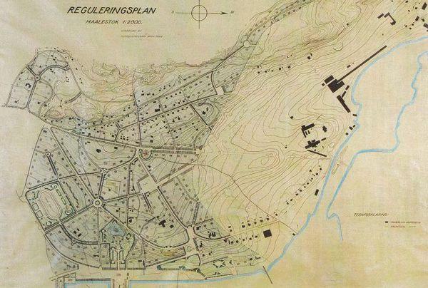Reguleringsplanen for «Nøtterø – Haveby» fra 1921 utarbeidet av kommuneingeniør Arthur Røed i 1921.