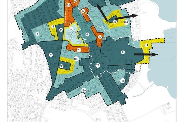 Sårbarhetskart. De mørkest blå områdene har størst sårbarhet for nye tiltak, de lyse blå har minst. De oransje områder er pressområder med stor verdi, mens de gule viser randsoner som kan påvirke store verdier.