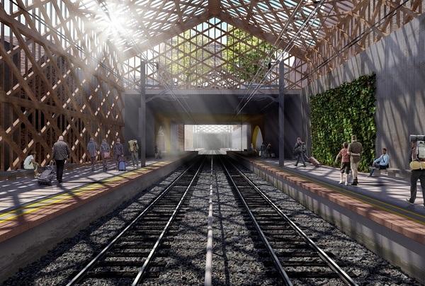Vaksdal stasjon. Illustrasjon: Asplan Viak