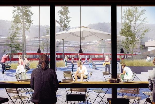 Vaksdal sentrum. Illustrasjon: Asplan Viak