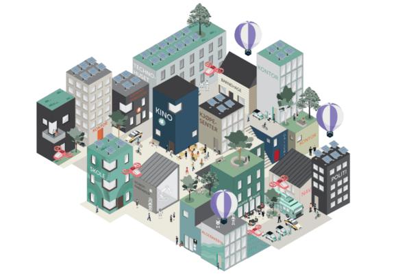 Det er laget ulike illustrasjoner som skal hjelpe leseren med å forestille seg de fire scenarioene. Illustrasjon: Asplan Viak.