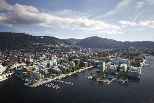 Asplan Viak og MAD Arkitekter har sammen med Probiz og Casagrande Laboratory fått prestisjeoppdraget med planlegingen av «ny bydel Dokken» i Bergen. Illustrasjon: MAD Arkitekter