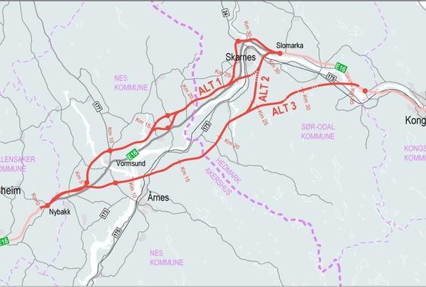 Kartet viser området hvor det skal lages kommunedelplan for ny E16 fra E6 og til Kongsvinger. Illustrasjon: Nye Veier