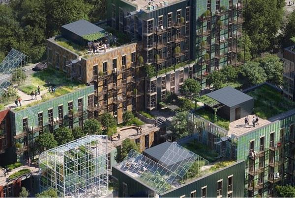 Recipe for Future Living:  Ved å betrakte området som en del av byens økosystem skapte vi et vakkert og meningsfullt gjenbrukslandskap som fanger karbon, håndterer store mengder overvann og styrker lokalsamfunnet. Illustrasjon: MAD.