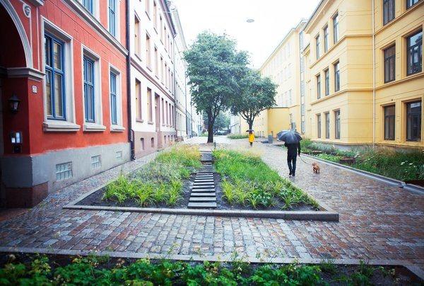 Bærekraftige prosjekter i årets rapport til FN. Her fra Deichmans gate / Wilses gate i Oslo. Foto: Asplan Viak
