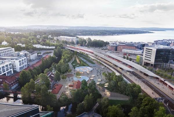 Løsningen for Lysaker stasjon bæres av en overordnet idé om å skape ett samlende og identitetssterkt sted. Illustrasjon: Arup, Longva arkitekter og Asplan Viak.