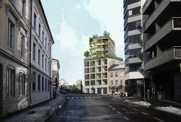 Habitat Haus sett fra Møllergata. Illustrasjon: Asplan Viak