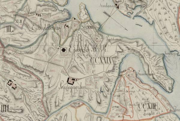 Kart over Eidsvoll med prestegården 1806.