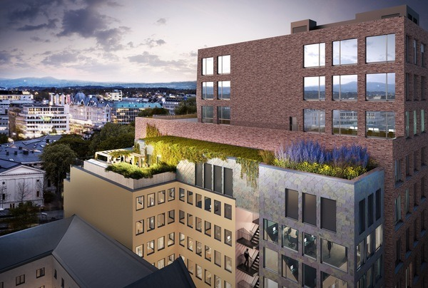 <p>Frodig og grønn takterrasse. Illustrasjon: MAD arkitekter</p>